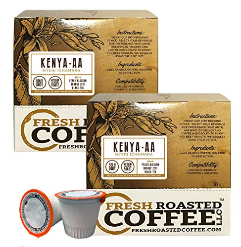 Fresh Roasted Coffee LLC, Kenya AA Nyeri Ichamara Coffee Pods, Medium Dark Roast, Single Origin, Capsules Compatible with 1.0 & 2.0 Single-Serve Brewers, 36 Count