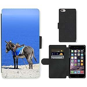 "CARD POCKET BOOK CASE PU LEATHER CASE // M00421554 Mar Burro Grecia Santorini vacaciones // Apple iPhone 6 4.7"""