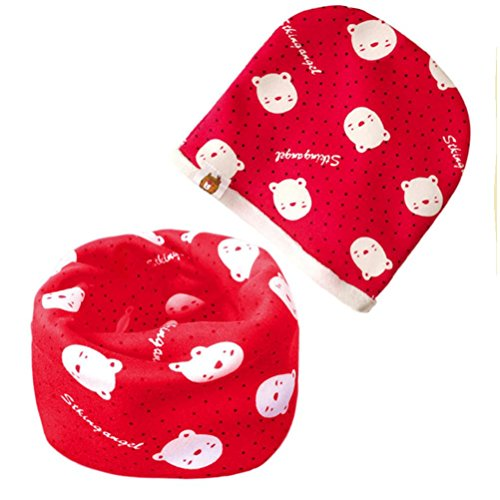 Toddler Baby Autumn Winter Warm Soft Scarf Boys Girls Adorable Scarf+Hat O Ring Neck Set (H)
