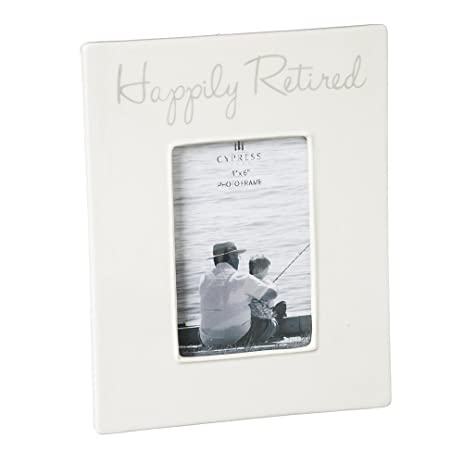 Amazon.com - Cypress Home Happily Retired 4x6 Ceramic Picture Frame -
