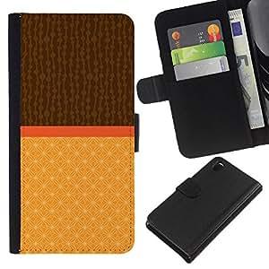 KLONGSHOP // Tirón de la caja Cartera de cuero con ranuras para tarjetas - Dos Tonos Marrón Beige - Sony Xperia Z3 D6603 //