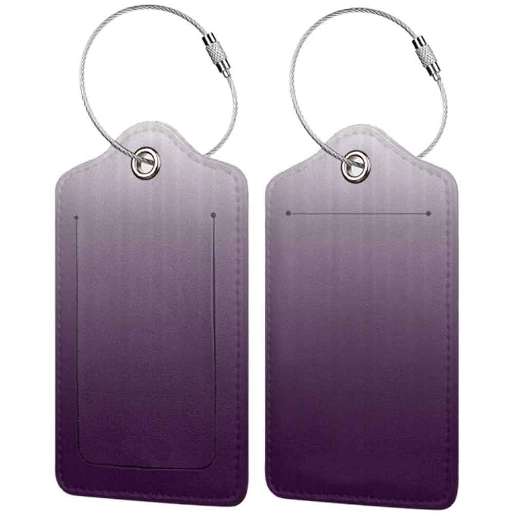 Multicolor luggage tag Ombre Gradient Perfect Harmony of Vivid Colors Themed Modern Design Artwork Print Hanging on the suitcase Aubergine White W2.7 x L4.6