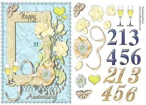 51st /& 61st in Blue or Gold Numbers by Gaye Robinson Anniversary Card for 21st 31st 41st