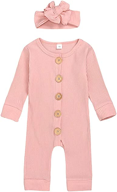 Newborn Baby Girl Romper Jumpsuit Clothes Set Knitted Bodysuit Headband Outfits