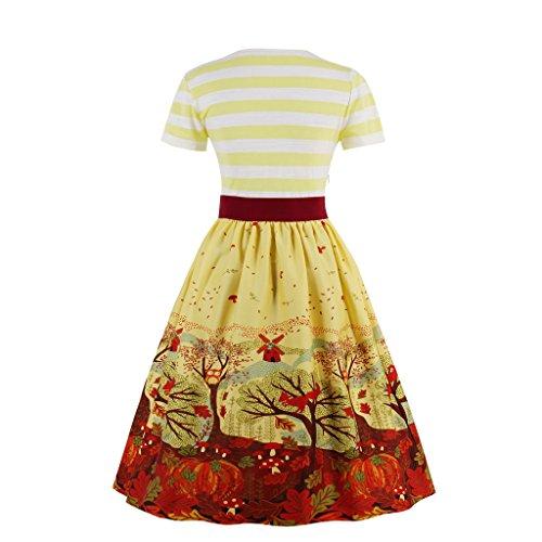 Rockabilly Kleid DISSA 3XL EU Gelb 46 Retro 50er Cocktail M1369 Vintage Damen qp44TxYwH