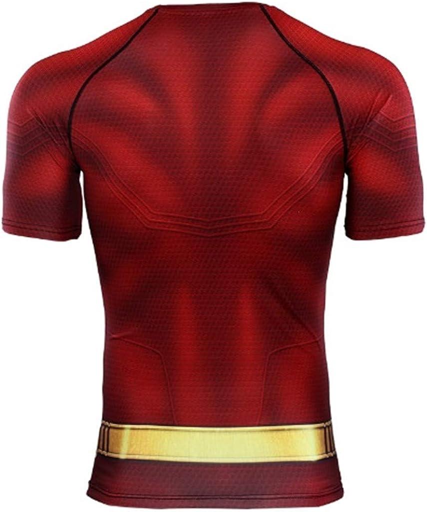 Ampparels Superhero Men Compression Shirts Sports Gym Half Sleeves Tshirt Red
