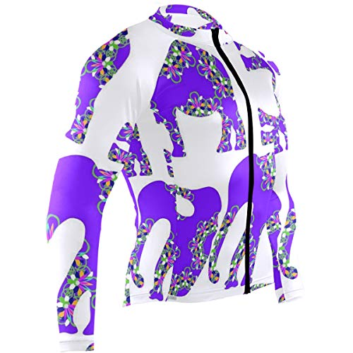 Purple Flower Elephant Mens Cycling Jersey Jacket Full Sleeve Road Bike Skinsuits Outfit