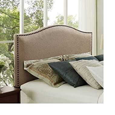 Better Homes and Gardens Grayson Linen Headboard with Nailheads King Oatmeal