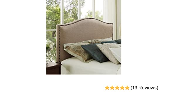 b68c8b56919f Amazon.com - Better Homes and Gardens Grayson Linen Headboard with  Nailheads (Full/Queen, Oatmeal) -
