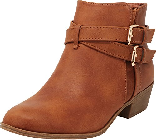 Cambridge Select Women's Closed Round Toe Western Buckled Crisscross Strap Stacked Chunky Block Heel Ankle Bootie Tan Pu