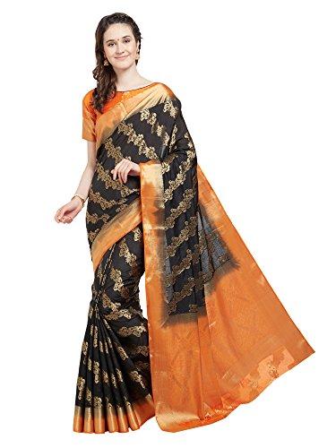 Viva N Diva Saree for Women's Black & Orange Banarasi Art Silk Saree with Un-Stiched Blouse Piece,Free ()