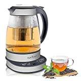 Cheap NutriChef Electric Glass Water Kettle – 1.7L Original Clear Digital Automatic Heater Warmer Kit Set w/Temperature Control, Timer, LED, Lid Cover, Accessories – For Boiling, Brewing Hot Tea – PKTM15