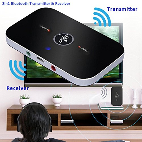 Price comparison product image 2in1 Bluetooth Transmitter Receiver,  Gotd Bluetooth Transmitter + Receiver Wireless A2DP Stereo Audio Music Adapter
