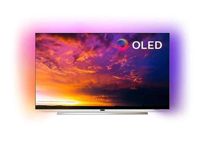 Philips 55OLED854 - Televisor Ambilight de SmartTV de 55 pulgadas con 4K UHD, 5000 PPI, Quad Core, 16 GB, Micro Dimming Perfect, Dolby Vision + Atmos, Peana Central Giratoria, P5 Pro, Google Assistant