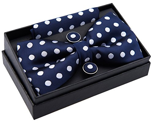 - Retreez Classic Polka Dots Woven Microfiber Pre-tied Bow Tie (Width: 5