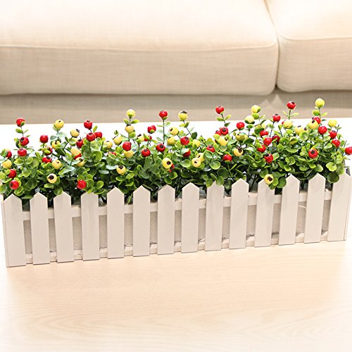 Yew Wood Furniture - LTYRZHA Emulation flower artificial flowers berries blueberries acacia fruit yew wood fence with packaged floral an idyllic natural wild,50CM wooden fence (m White + red)