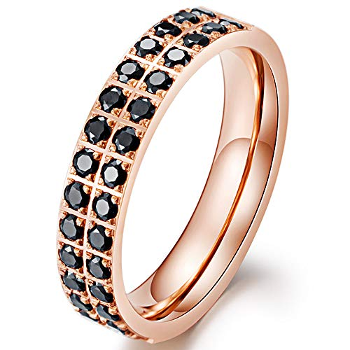 Fashion Month Men Women 4.8mm Titanium Stainless Steel Double Row CZ Black Inlay Rose Gold Ring Wedding Engagement Band Size 9 ()