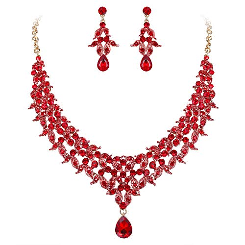 (BriLove Wedding Bridal Necklace Earrings Jewelry Set for Women Cluster Leaf Teardrop Statement Necklace Dangle Earrings Set Ruby Color Gold-Toned)
