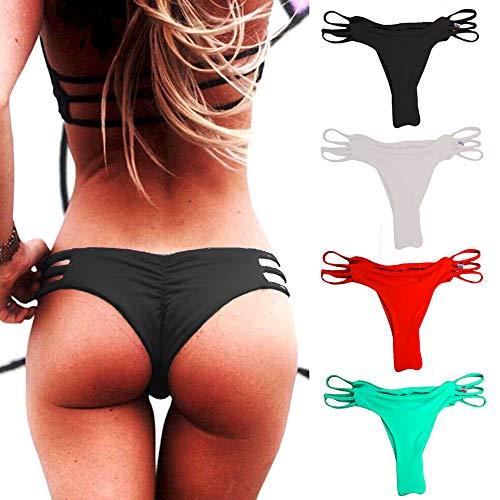 CROSS1946 Sexy Women's Side Strappy Brief Swimsuit Back Ruched Bikini Bottom Black,S