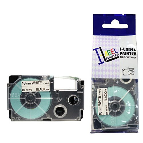LM Tapes - Casio KL-750 18mm Black on White Compatible Label Tape for Casio KL750 EZ Label Printer