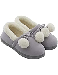 Women's Cozy Cute Fuzzy Knit Cotton Memory Foam House Shoes Slippers For Girls & Teens With Pom Pom Decor Indoor Outdoor