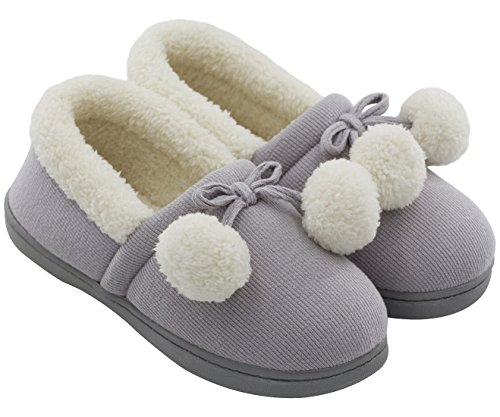 HomeTop Women's Cozy Cute Fuzzy Knit Cotton Memory Foam House Shoes Slippers For Girls & Teens With Pom Pom Decor Indoor Outdoor Gray