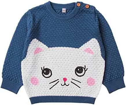 Easonp Girls Thick Stripe Pullover Jumper Knitted Cute Sweaters