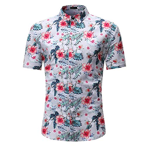 Usstore for Men's Floral Printed T-Shirt Short Sleeve Choker Top Casual Blouse (H, M) from Usstore