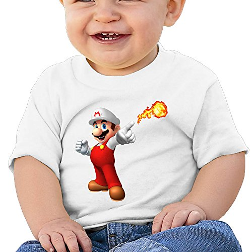 Lennakay Work Baby Girl's Super Mario Fire O-Neck Infant Tshirt Short Sleeve Size12 Months - Womens Cowboy Boots Size12