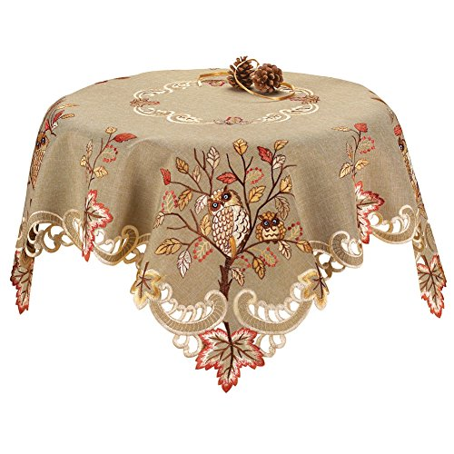 Embroidered Owls Table Linens Square