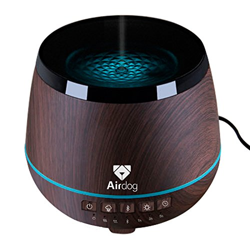 Airdog Aroma Diffuser - Ultrasonic Humidifier, Bluetooth Speaker & Essential Oil Diffuser for Large Room - Quiet and Safe - 200ml Water Tank, Water-Proof Wind Channel System