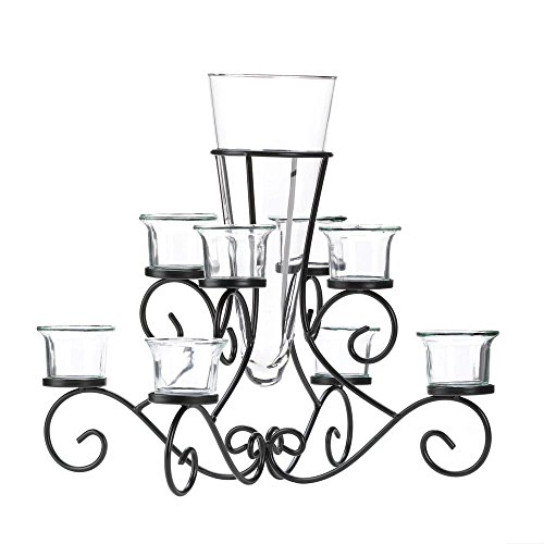 (SCROLLWORK CANDLE STAND WITH VASE)