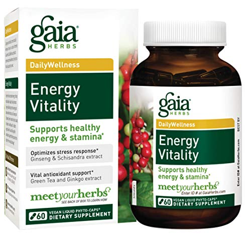 Gaia Herbs Energy Vitality, Vegan Liquid Capsules, 60 Count - Promotes Healthy Energy and Stamina, Healthy Stress Response, Green Tea Extract, Ginkgo Biloba, Panax Ginseng, Schisandra Berry - Biloba Green Tea