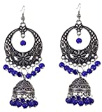 Sansar India Oxidized Silver Plated Beaded Chandbali Indian Jhumki Earrings Jewelry for Girls and Women