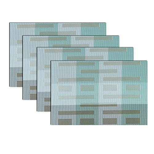Woven Placemats for dining table, Heat Insulation Stain-resistant Woven Vinyl Kitchen Place Mats, Set of 4 (Light blue) - Placemats For Dining Table Blue