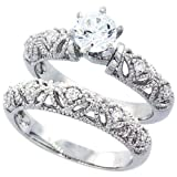 Sterling Silver Wedding Ring Set, Round CZ Engagement Ring 2pcs Vintage Bridal Sets ( Size 5 to 10)