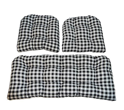 3 Piece Wicker Cushion Set - Black Plaid / Country Checkered / Checkerboard Indoor Cotton Fabric Cushion for Wicker Loveseat Settee & 2 Matching Chair Cushions
