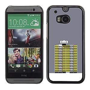 MobileHut / HTC One M8 / Grey Yellow Building Robot Art Grey / Delgado Negro Plástico caso cubierta Shell Armor Funda Case Cover