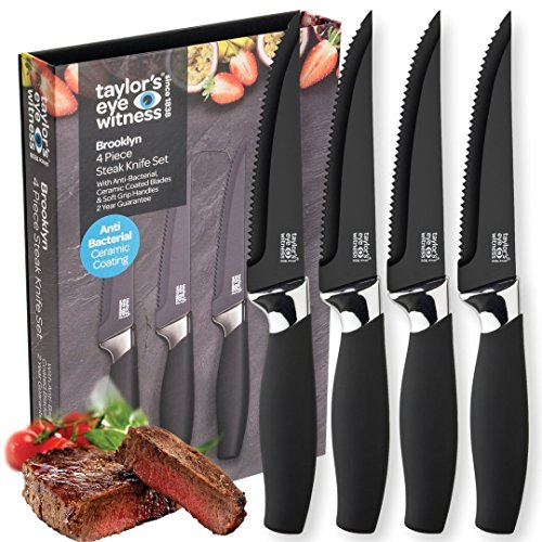 Taylors Eye Witness Brooklyn 4 Piece Steak Knife Set in Black and Chrome by Taylor's Eye Witness
