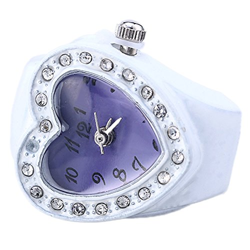 Gilroy Lady Girl Silicon Heart-shaped Elastic Band Quartz Finger Ring Watch - Purple (Ladies Heart Watch Shaped)