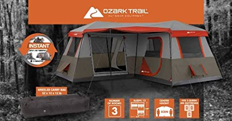 Amazon.com  Ozark Trail 16x16-Feet 12-Person 3 Room Instant Cabin Tent with Pre-Attached Poles  Sports u0026 Outdoors & Amazon.com : Ozark Trail 16x16-Feet 12-Person 3 Room Instant Cabin ...