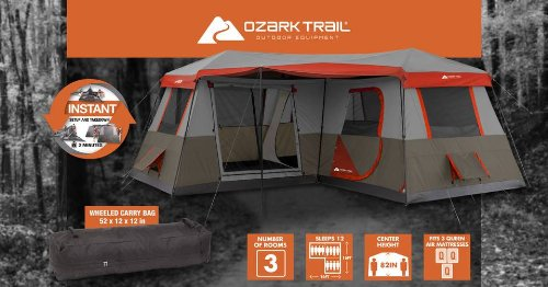 Amazon.com  Ozark Trail 16x16-Feet 12-Person 3 Room Instant Cabin Tent with Pre-Attached Poles  Sports u0026 Outdoors : ozark 8 person instant tent - memphite.com