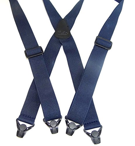 Hold-Ups Blue No-buzz Airport Friendly Suspenders X-back Patented Gripper Clasps (Buzz Suspenders)