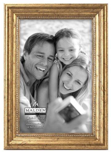 Malden International Designs Classic Wood Picture Frame,4x6, (4x6 Gold Frames)