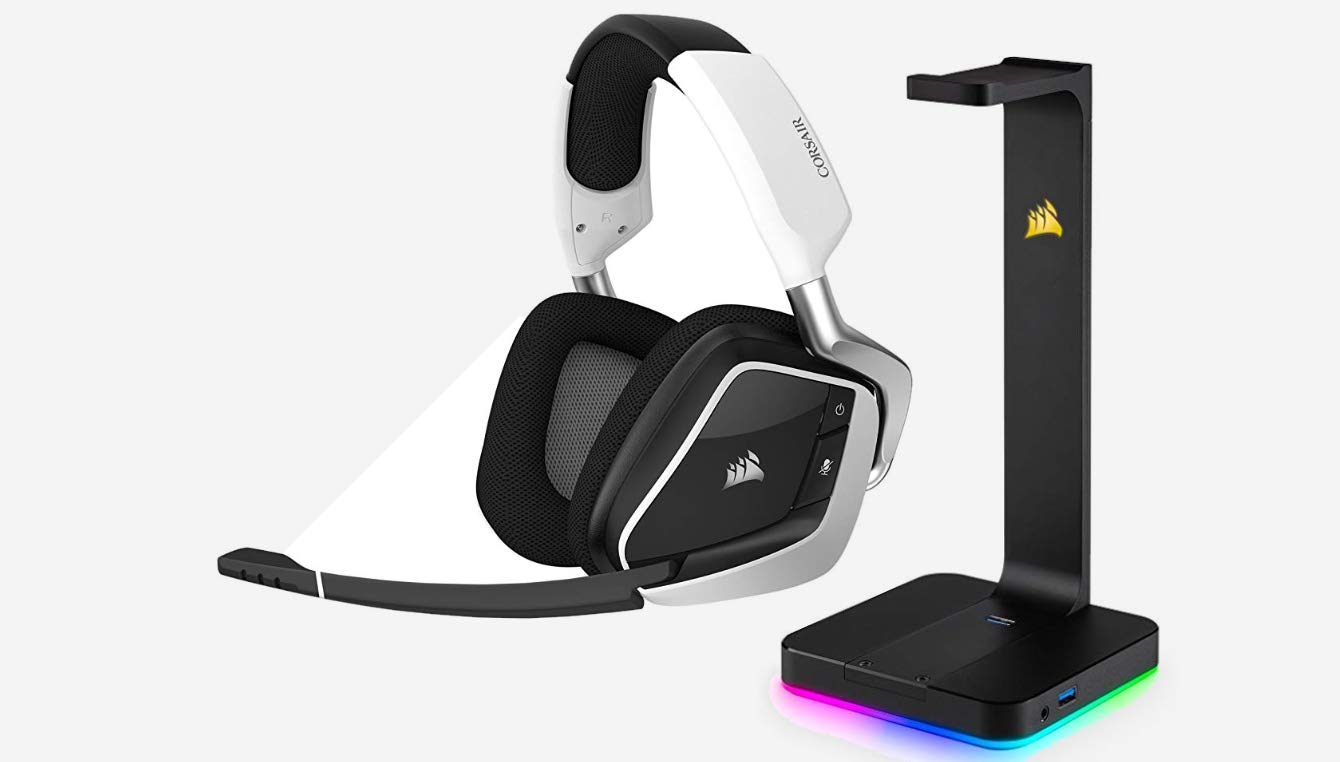 Carbon CORSAIR Void PRO RGB Wireless Gaming Headset 50mm Drivers Dolby 7.1 Surround Sound Headphones for PC Discord Certified