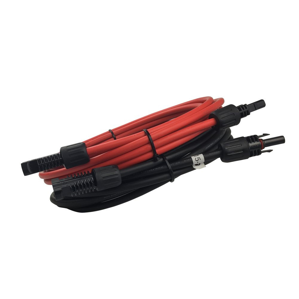 HQST A Pair 15ft 12AWG Solar Extension Cable w/ MC4 Male Female Connector,Solar Panel Adaptor Kit Tool (Red + Black)
