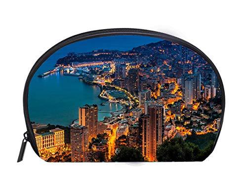 Half-moon Cosmetic Bag Monaco Monte Carlo Aerial View Travel Cosmetic Case Luxury Makeup Artist Bag