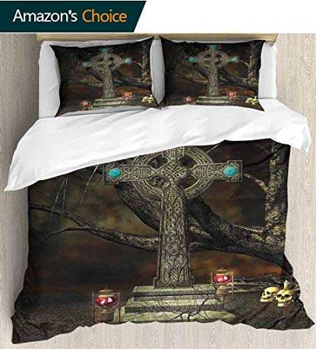 shirlyhome Gothic Decor Home 3 Piece Print Quilt Set,Gothic Cross Tree Grave Skulls Tombstone Lanterns Graveyard Night Art Patterned Technique King Quilt Set 104