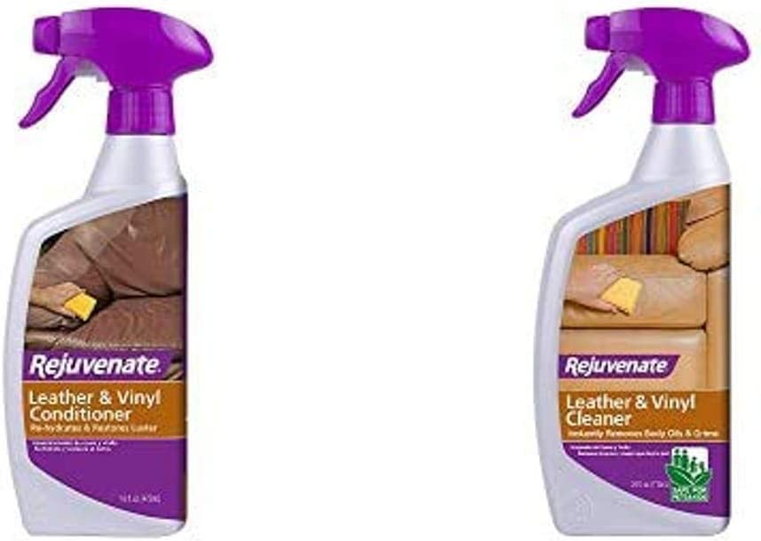Rejuvenate High Performance Leather & Vinyl Conditioner Perfect for Auto Furniture Shoes Bags Coats and More Rehydrate Restore and Protection with No Greasy Residue 16oz and Leather & Vinyl Cleaner