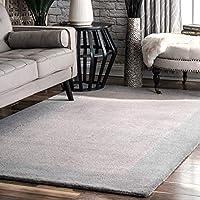 nuLOOM Handmade Solid Border Wool Area Rug